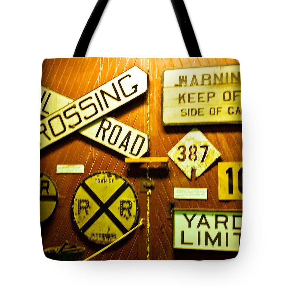 Railroad Tote Bag featuring the photograph Railroad Talk by Sara Frank