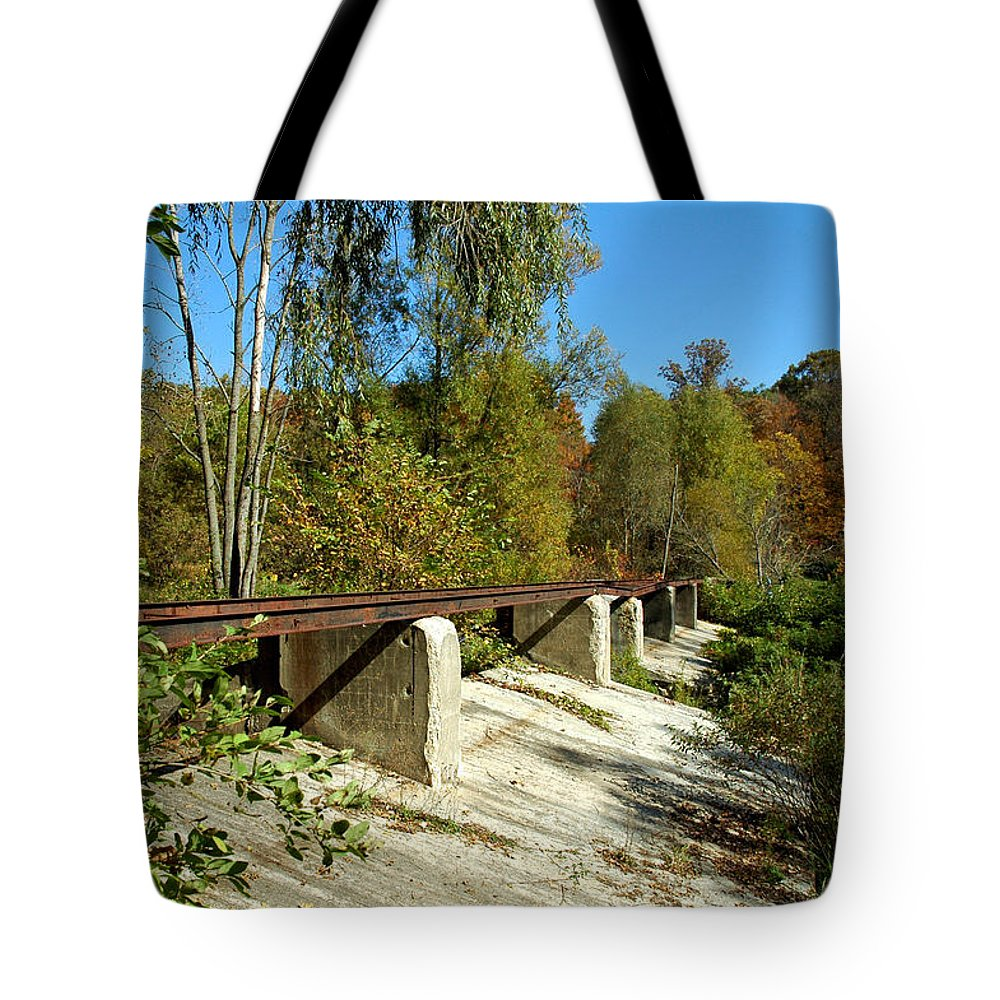 Usa Tote Bag featuring the photograph Rails To The Past by LeeAnn McLaneGoetz McLaneGoetzStudioLLCcom