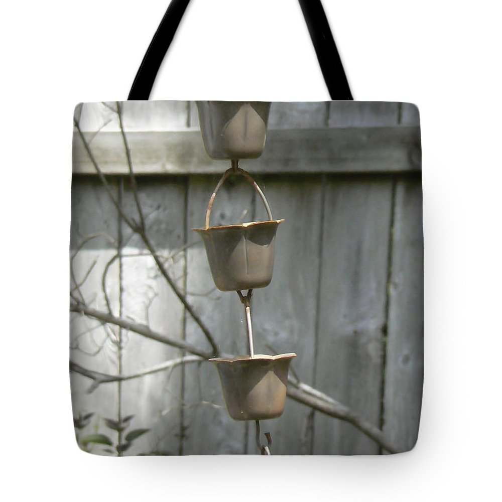 Copper Tote Bag featuring the photograph Rain Catchers by Pamela Patch