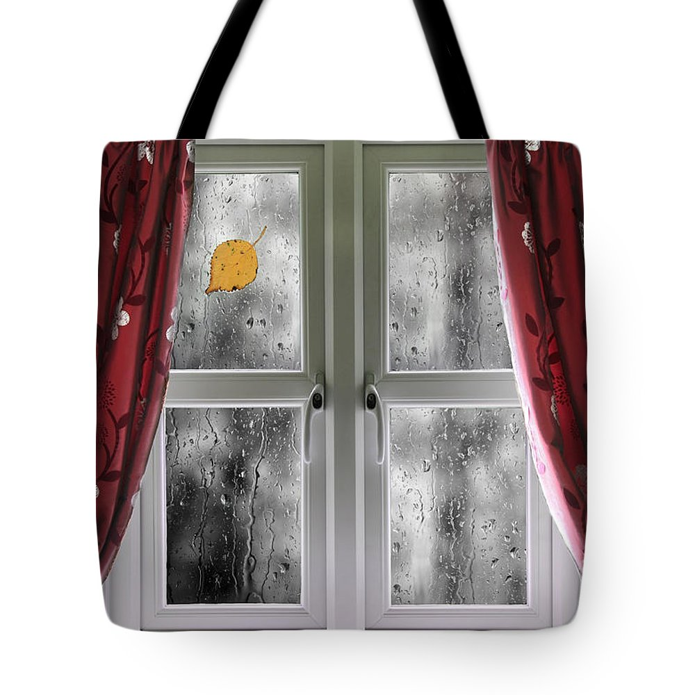 Window Tote Bag featuring the photograph Rain On A Window With Curtains by Simon Bratt Photography LRPS