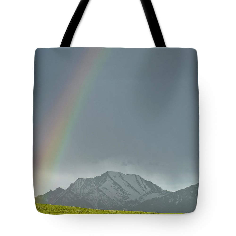 Americas Tote Bag featuring the photograph Rainbow Against The Crazy's by Roderick Bley