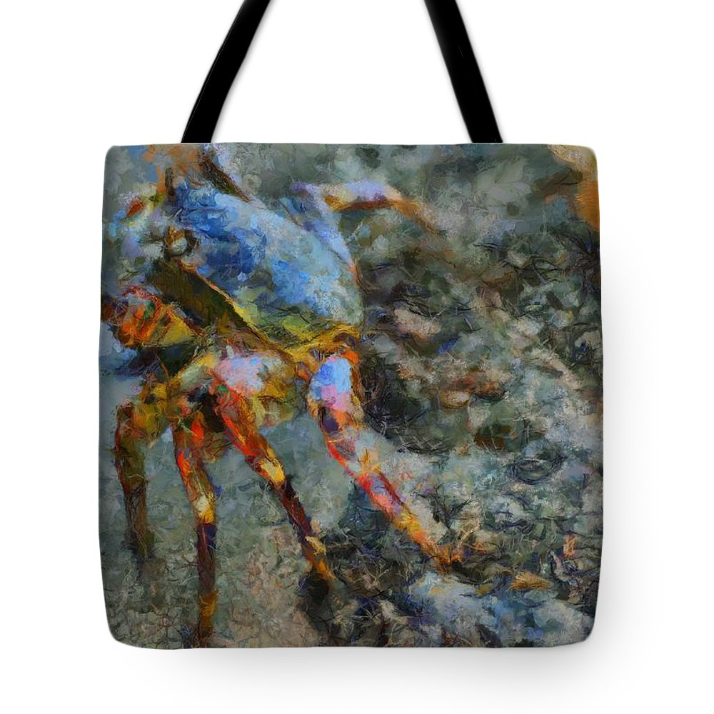 Crab Tote Bag featuring the painting Rainbow Crab by Balram Panikkaserry