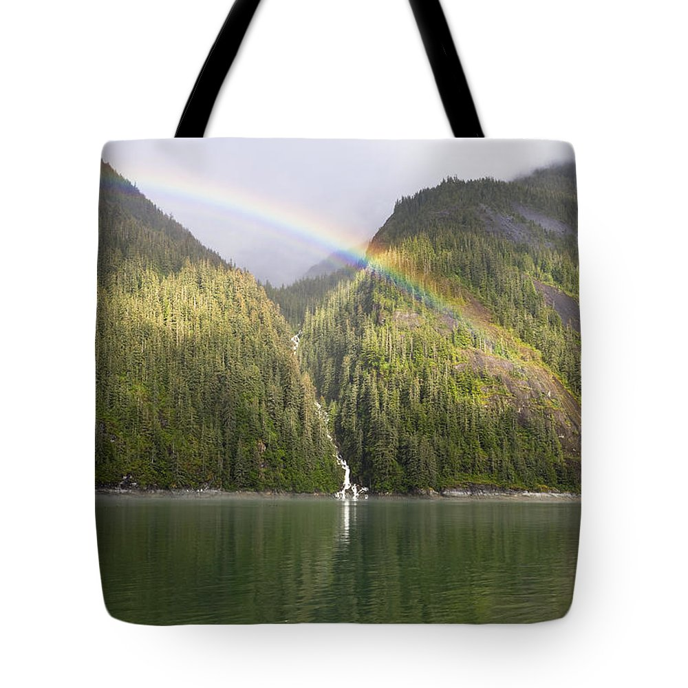 Mp Tote Bag featuring the photograph Rainbow Over Forest, Endicott Arm by Konrad Wothe