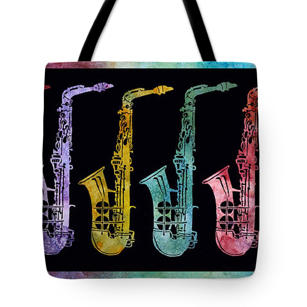 Sax Tote Bag featuring the digital art Rainbow Saxophones by Jenny Armitage