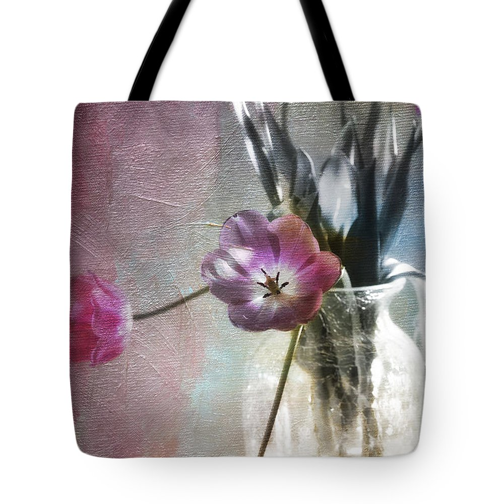 Florals Tote Bag featuring the photograph Rainbow Tulips by Linda Dunn