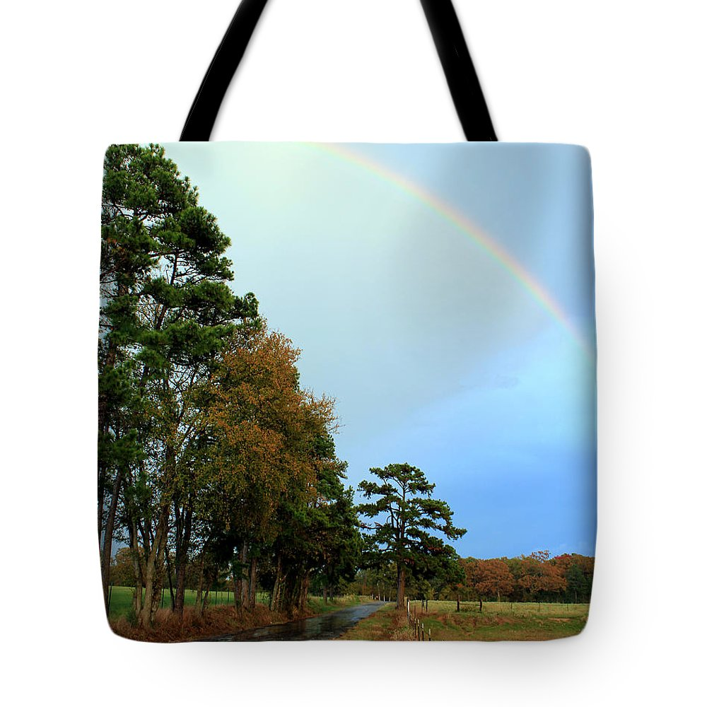 Rainbow Tote Bag featuring the photograph Rainy Day Rainbow by Kathy White