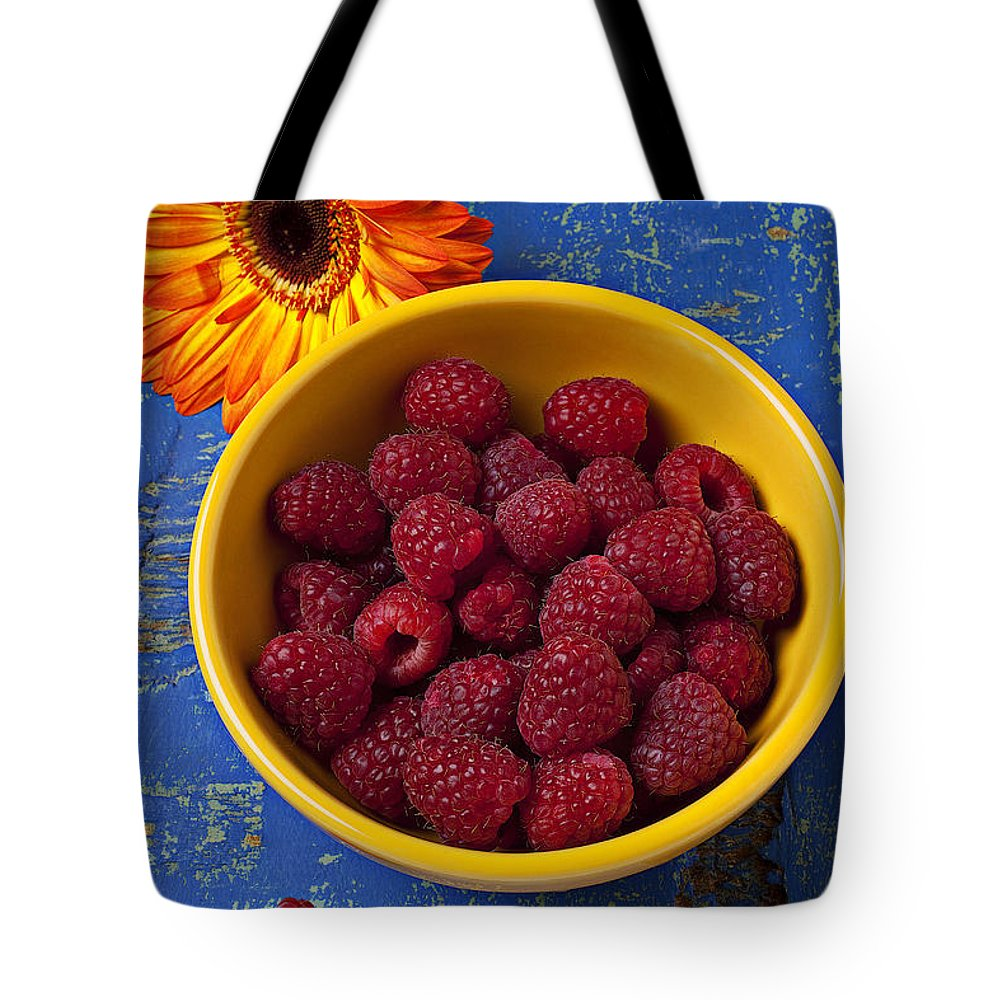 Raspberries Yellow Bowl Tote Bag featuring the photograph Raspberries In Yellow Bowl by Garry Gay