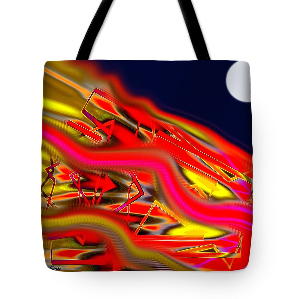 Reentry Tote Bag featuring the digital art Re-entry Burn by Alec Drake