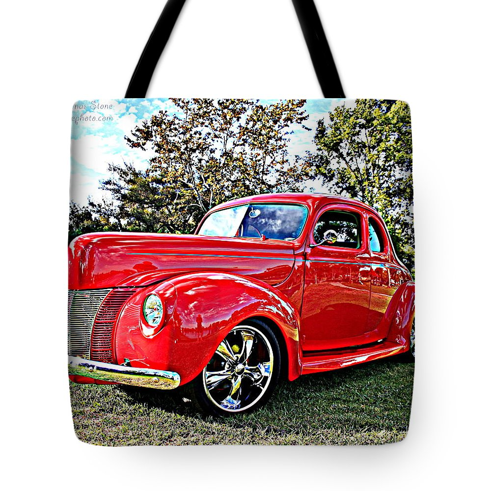 Ford Tote Bag featuring the photograph Red 1940 Ford Deluxe Coupe by Randall Thomas Stone