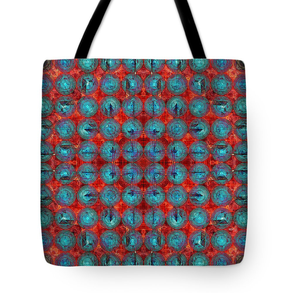 Digital Art Tote Bag featuring the digital art Red And Blue Abstract by Phil Perkins