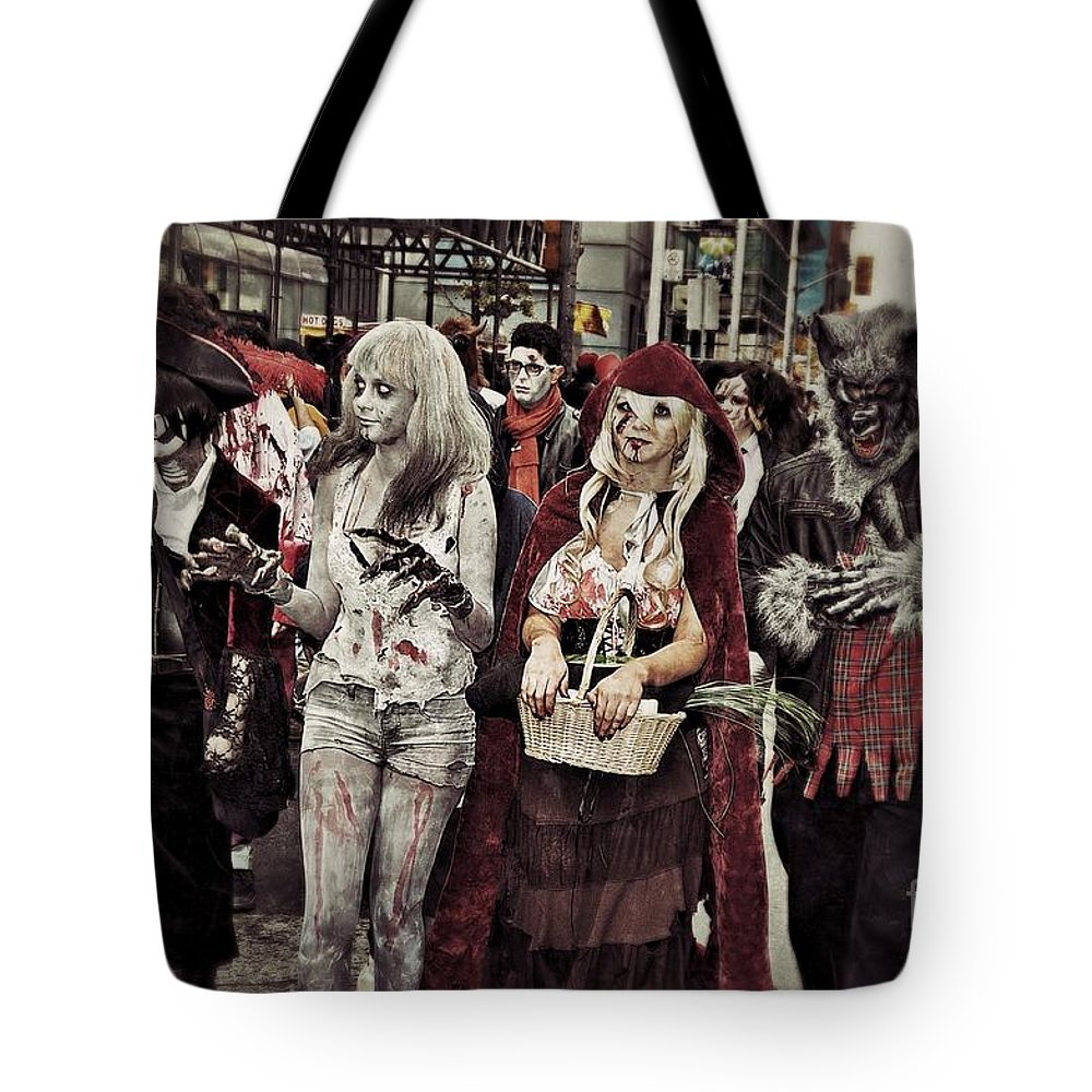 Zombie Tote Bag featuring the photograph Red And Her Crew by Andrea Kollo