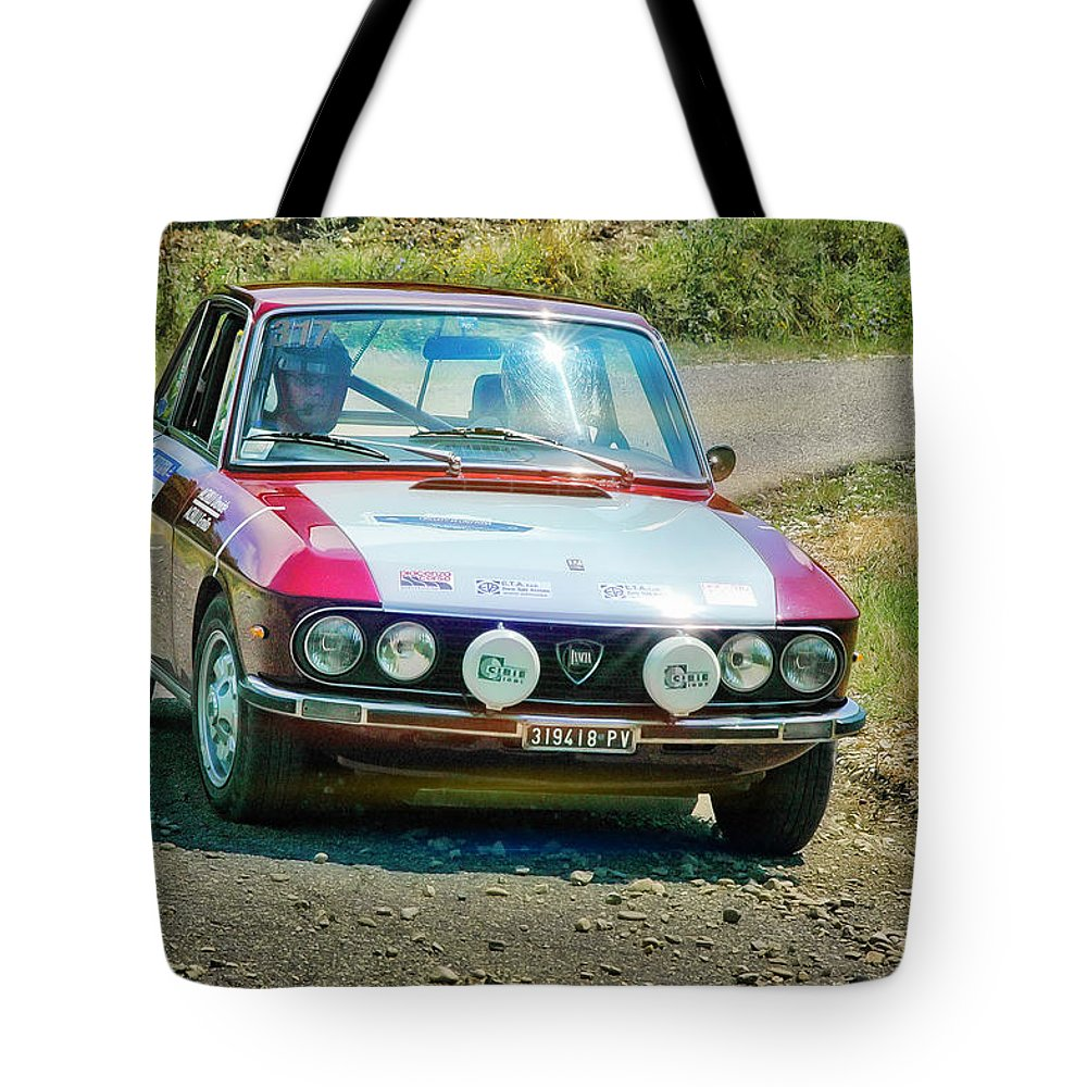 Car Tote Bag featuring the photograph Red And White Lancia by Alain De Maximy