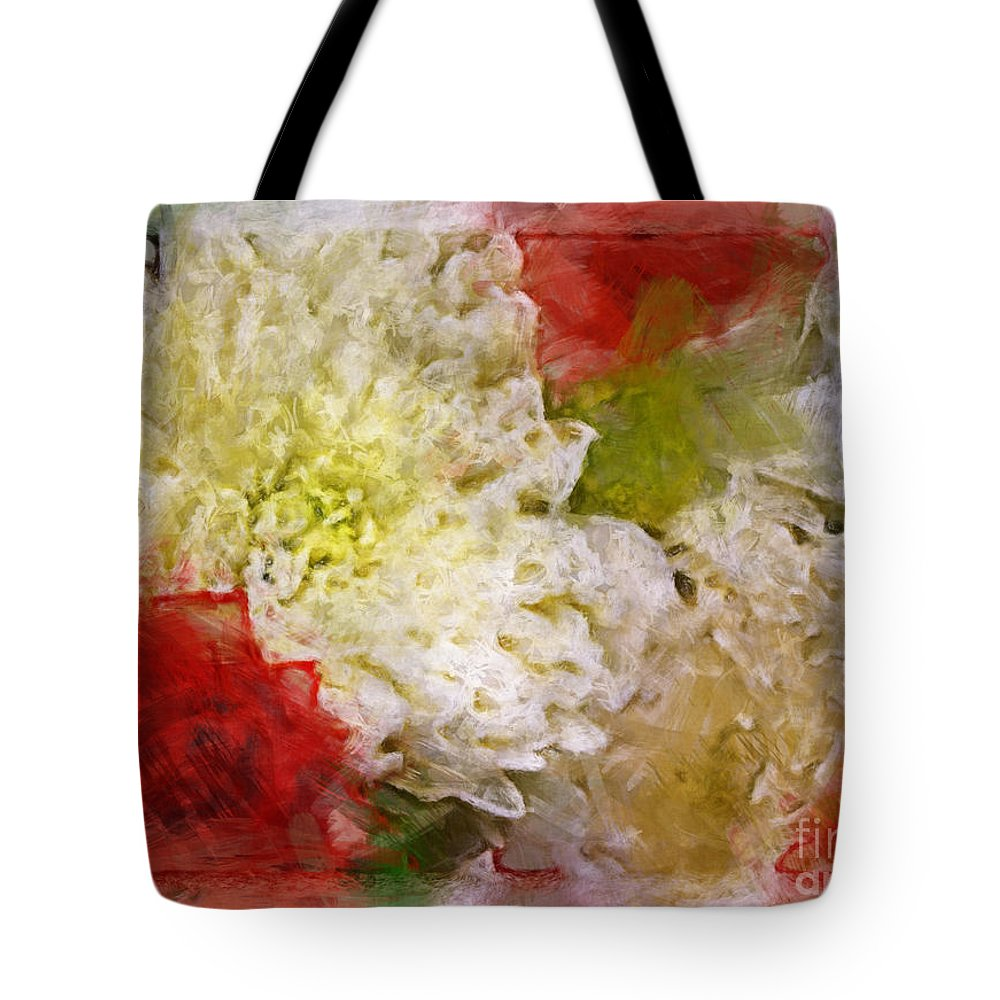 Nature Tote Bag featuring the digital art Red And White Mums Photoart by Debbie Portwood