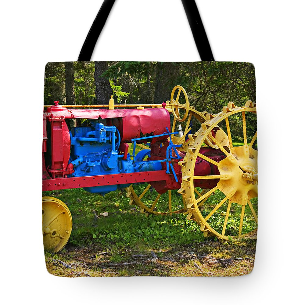 Tractor Tote Bag featuring the photograph Red And Yellow Tractor by Garry Gay