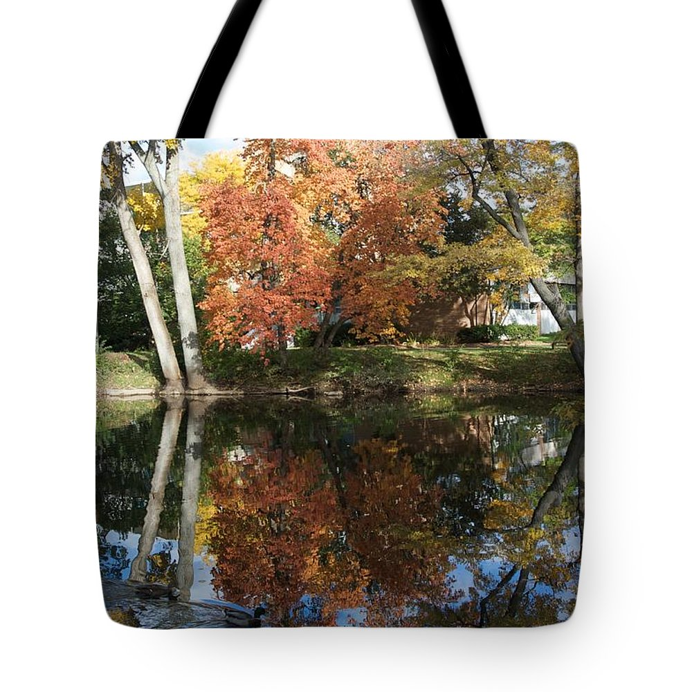 Ducks Tote Bag featuring the photograph Red Cedar Reflections by Joseph Yarbrough