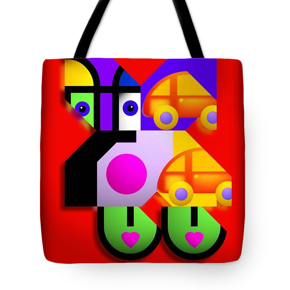 Pop Tote Bag featuring the painting Red Collage by Charles Stuart