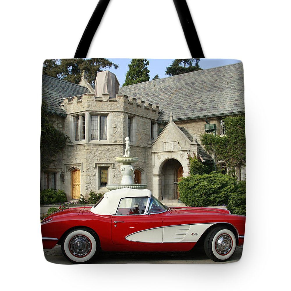 Transportation Tote Bag featuring the photograph Red Corvette Outside The Playboy Mansion by Nina Prommer