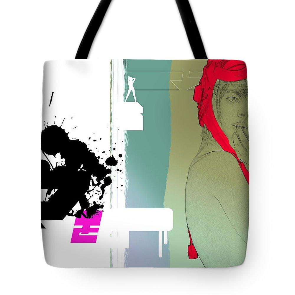 Ferrari Tote Bag featuring the digital art Red Hat by Naxart Studio