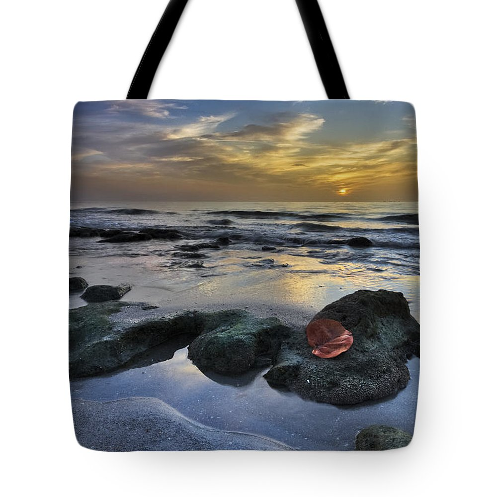 Clouds Tote Bag featuring the photograph Red Leaf At Dawn by Debra and Dave Vanderlaan