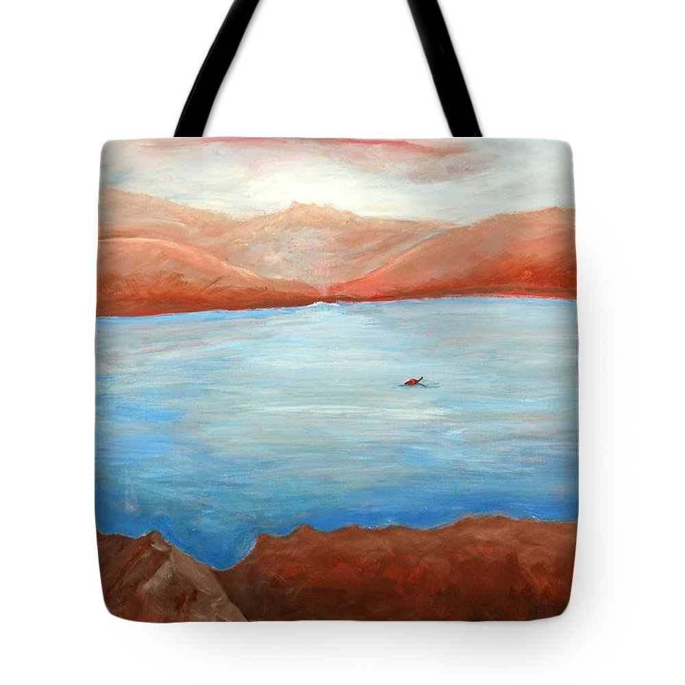 Landscape Tote Bag featuring the painting Red Leaf In Lake Juliette by Lugenia Dixon