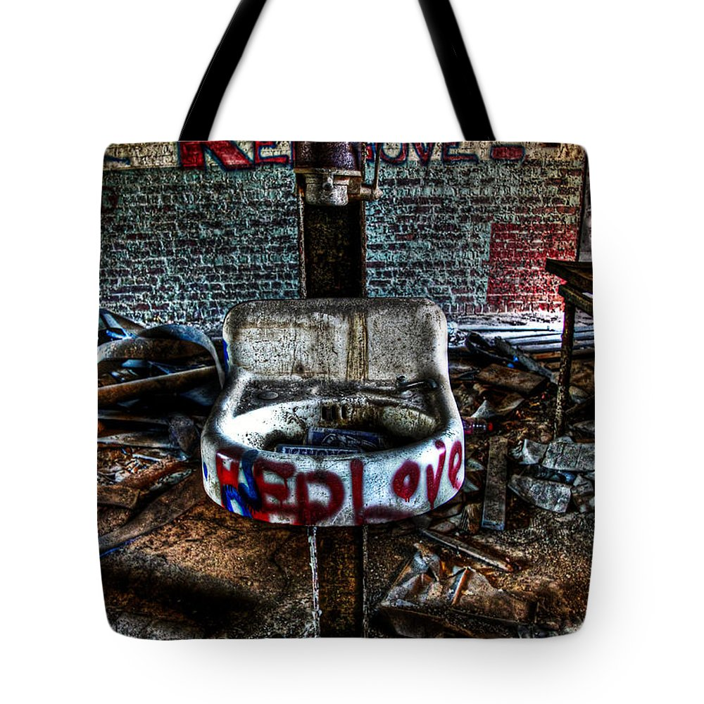 Abandoned Tote Bag featuring the photograph Red Love by Brenda Giasson