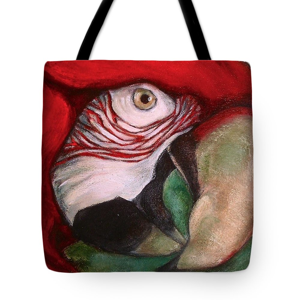 Bird Tote Bag featuring the painting red by Mo