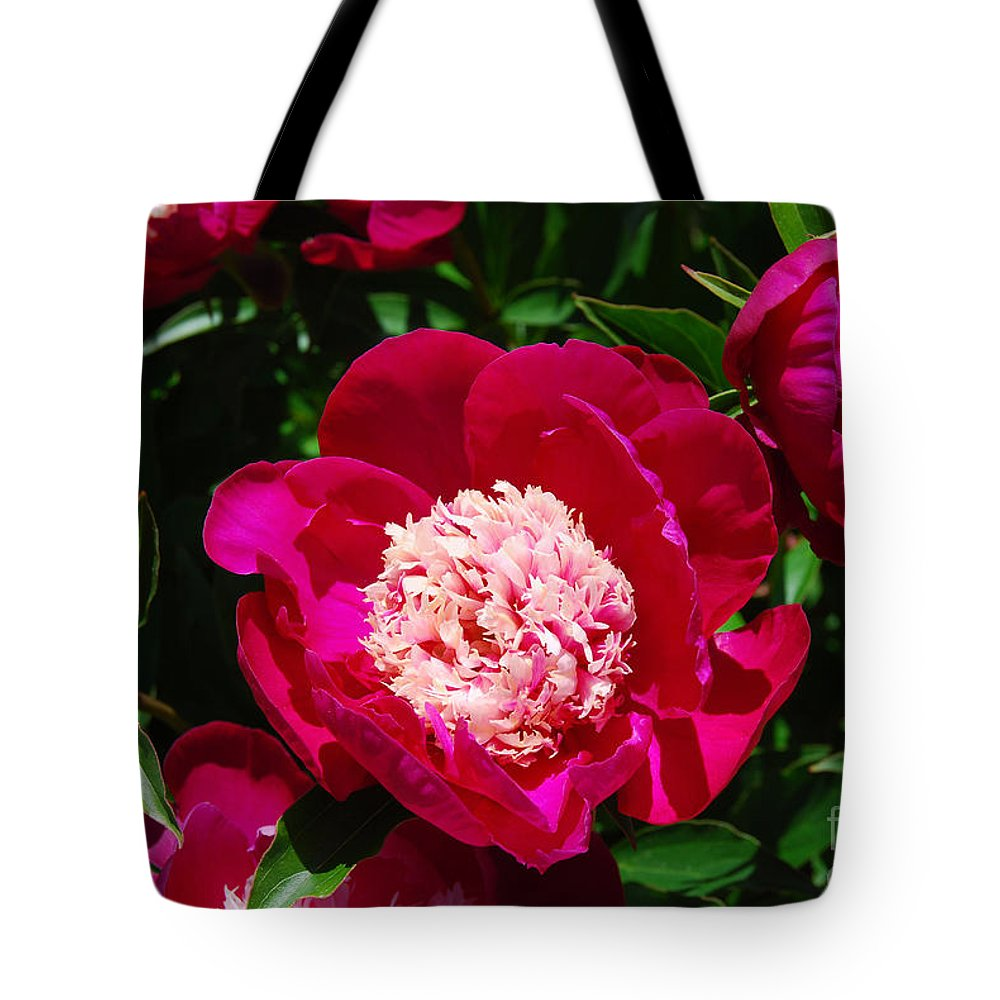 Red Peony Flower Tote Bag featuring the digital art Red Peony Flowers Series 3 by Eva Kaufman