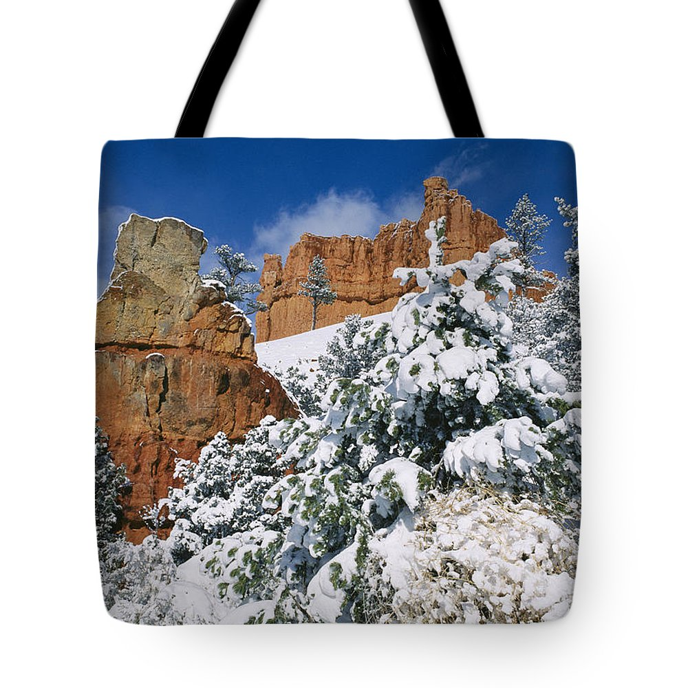 united States Tote Bag featuring the photograph Red Rock Formations Poke Through A Late by Raymond Gehman