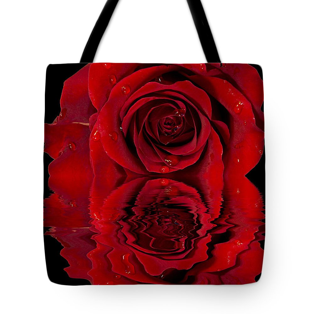 Affection Tote Bag featuring the photograph Red Rose Dew by Paul Fell