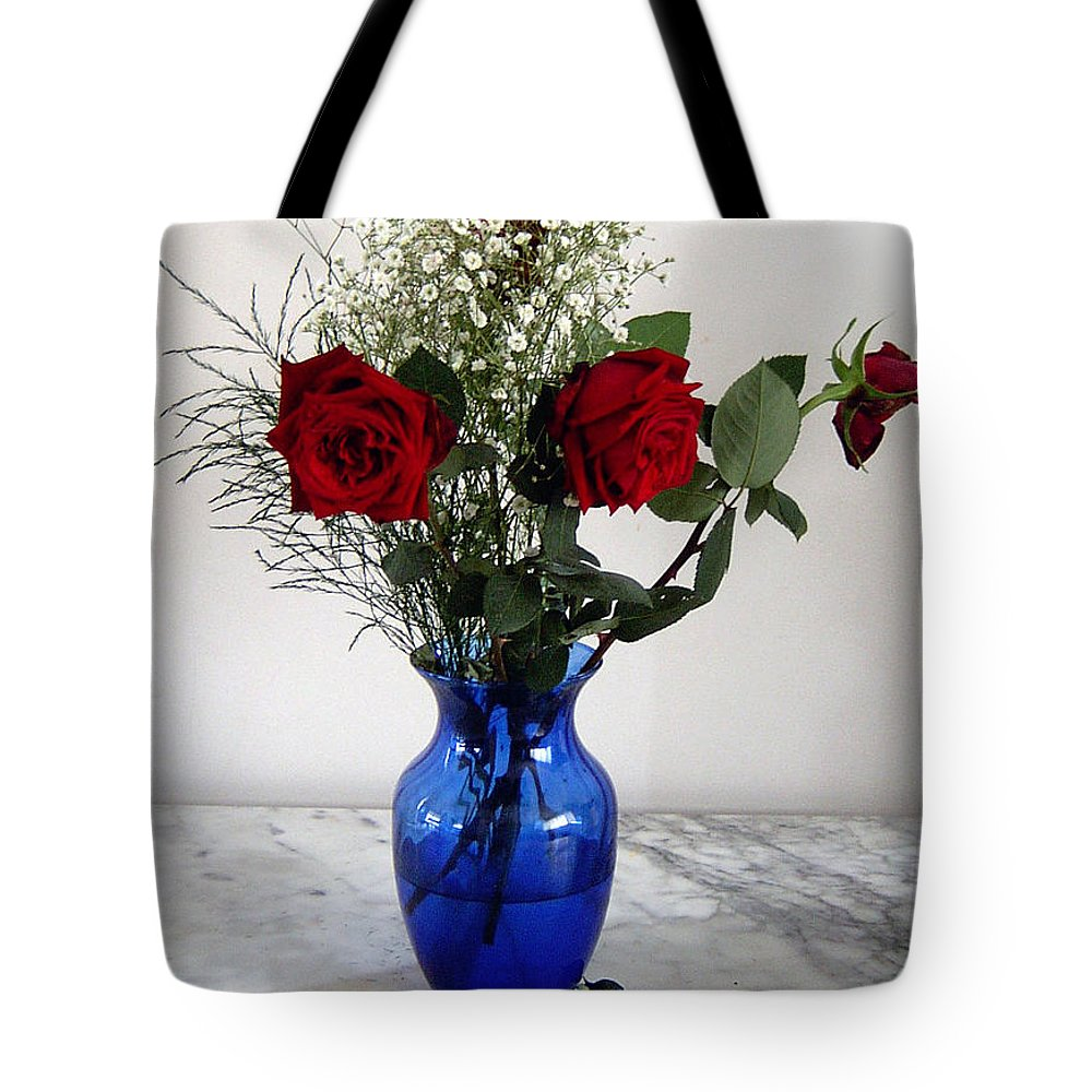 Vase Blue Glass Marble Red Rose Bouquet Tabletop Still Life Tote Bag featuring the photograph Red Roses by Vilas Malankar