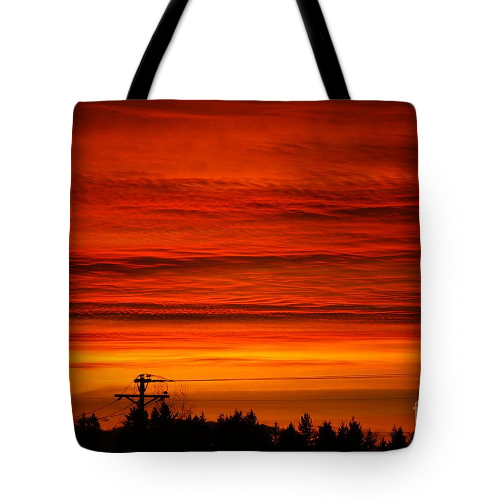 Storms Tote Bag featuring the photograph Red Skies At Night by Randy Harris