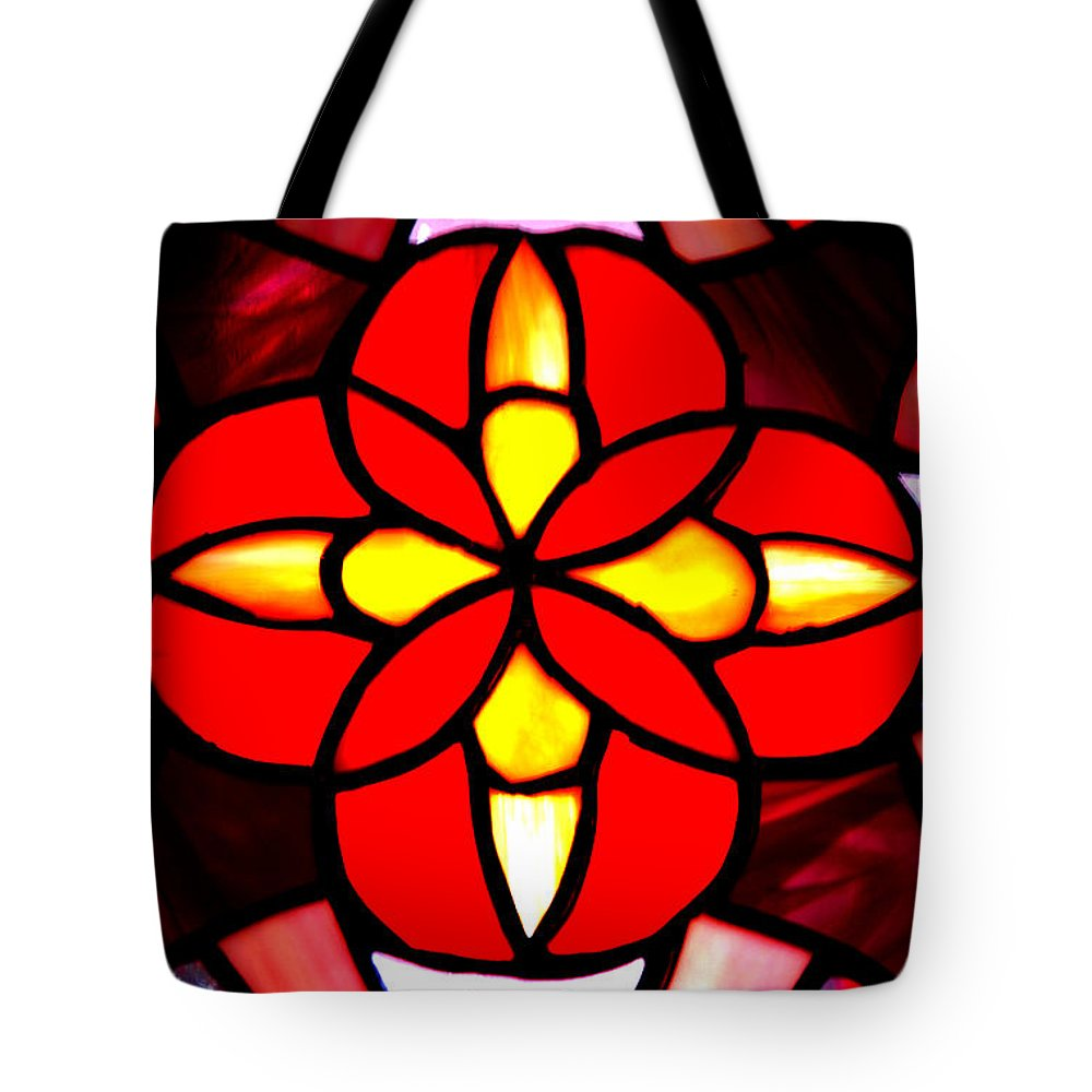 Stained Glass Window Tote Bag featuring the photograph Red Stained Glass by LeeAnn McLaneGoetz McLaneGoetzStudioLLCcom