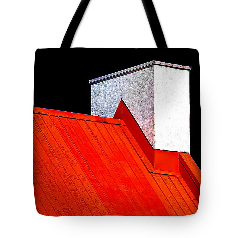 Red Tote Bag featuring the photograph Red White Black by Burney Lieberman