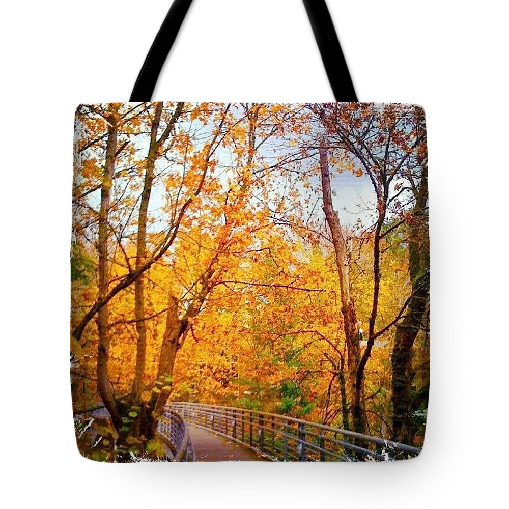 Reed College Canyon Tote Bag featuring the photograph Reed College Canyon Bridge to Campus by Anna Porter