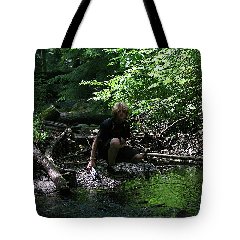 Forest Pond Tote Bag featuring the photograph Reflected In Green by Lorraine Devon Wilke