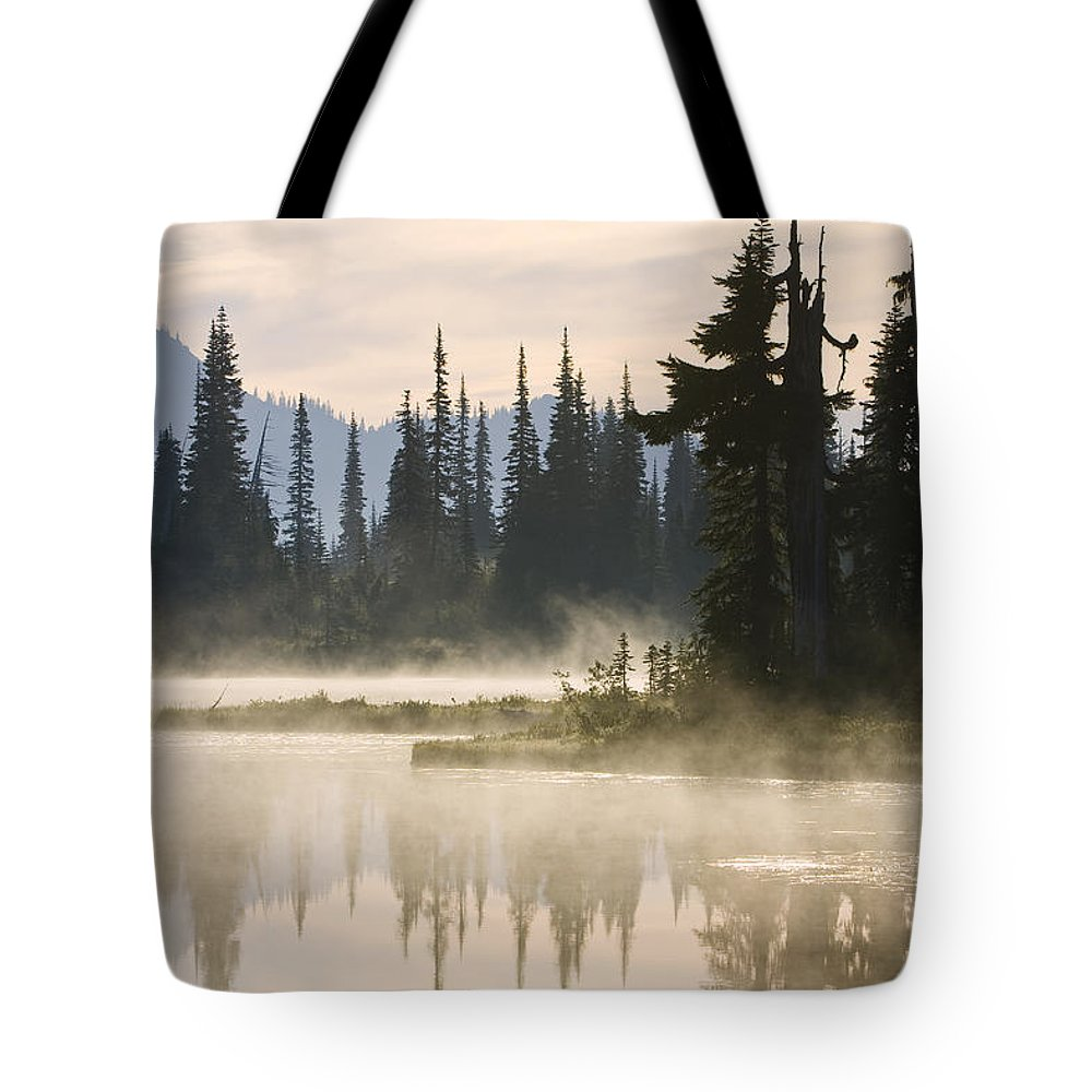 Mp Tote Bag featuring the photograph Reflection Lake With Mist, Mount by Konrad Wothe