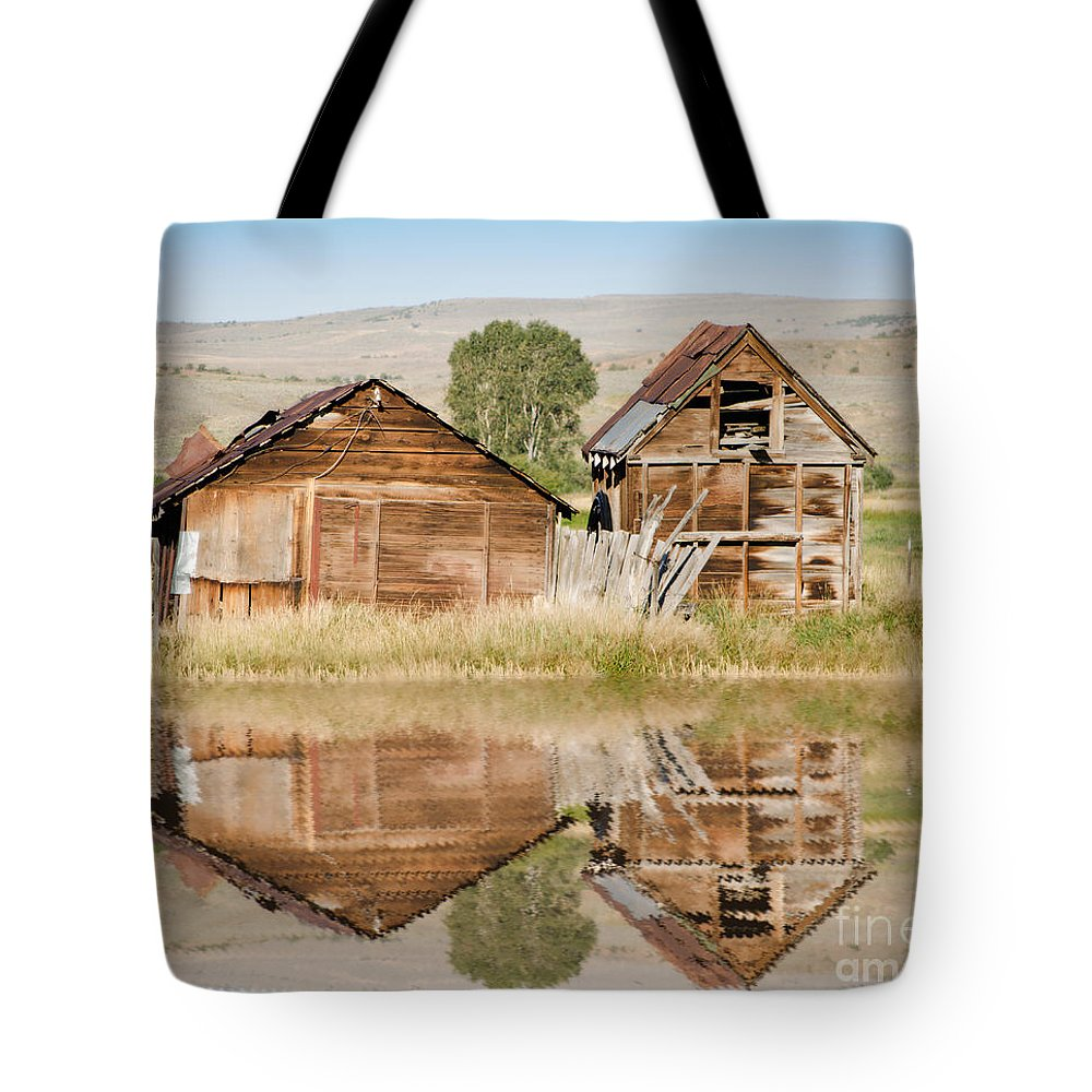 Fine Art Tote Bag featuring the photograph Reflection Of An Old Building by Donna Greene
