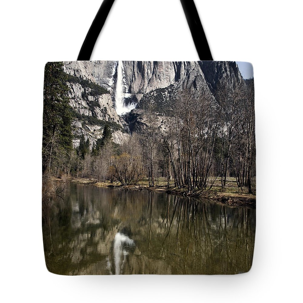 Reflections In The Merced Tote Bag featuring the photograph Reflections In The Merced by Wes and Dotty Weber