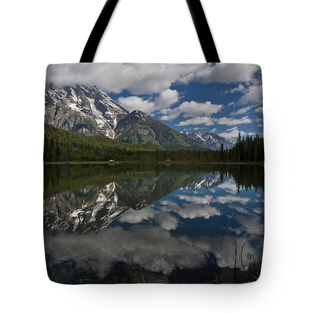 Grand Tetons Tote Bag featuring the photograph Reflections On Mount Moran by Greg Nyquist