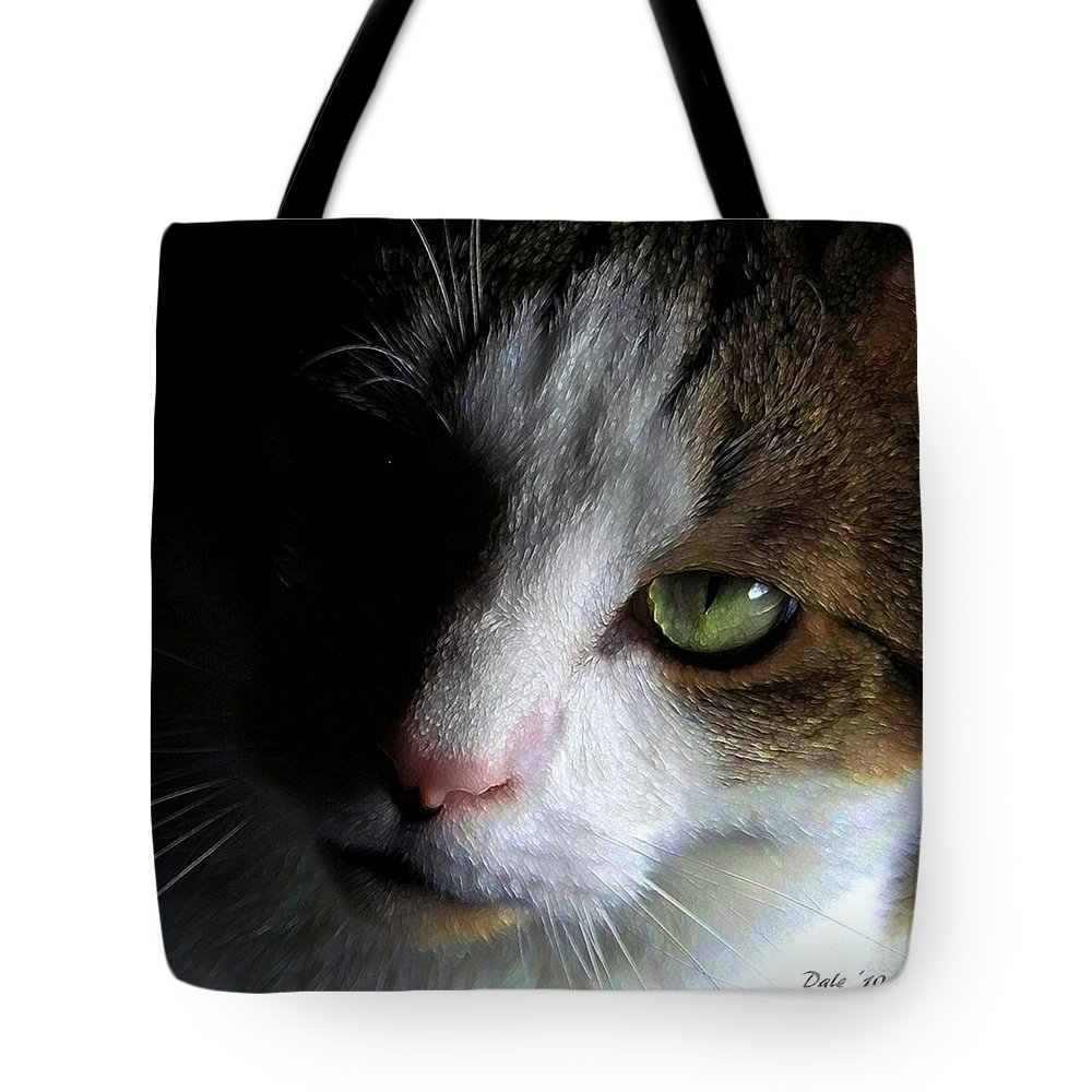 Cats Tote Bag featuring the digital art Reggie by Dale  Ford