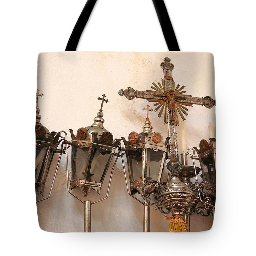 Lanterns Tote Bag featuring the photograph Religious Artifacts by Gaspar Avila