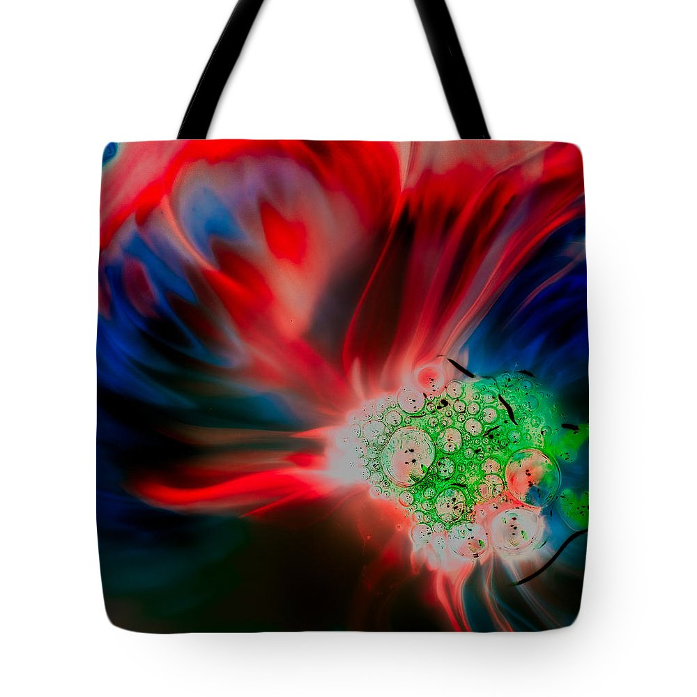 Red Tote Bag featuring the photograph Reverse by Jean Noren