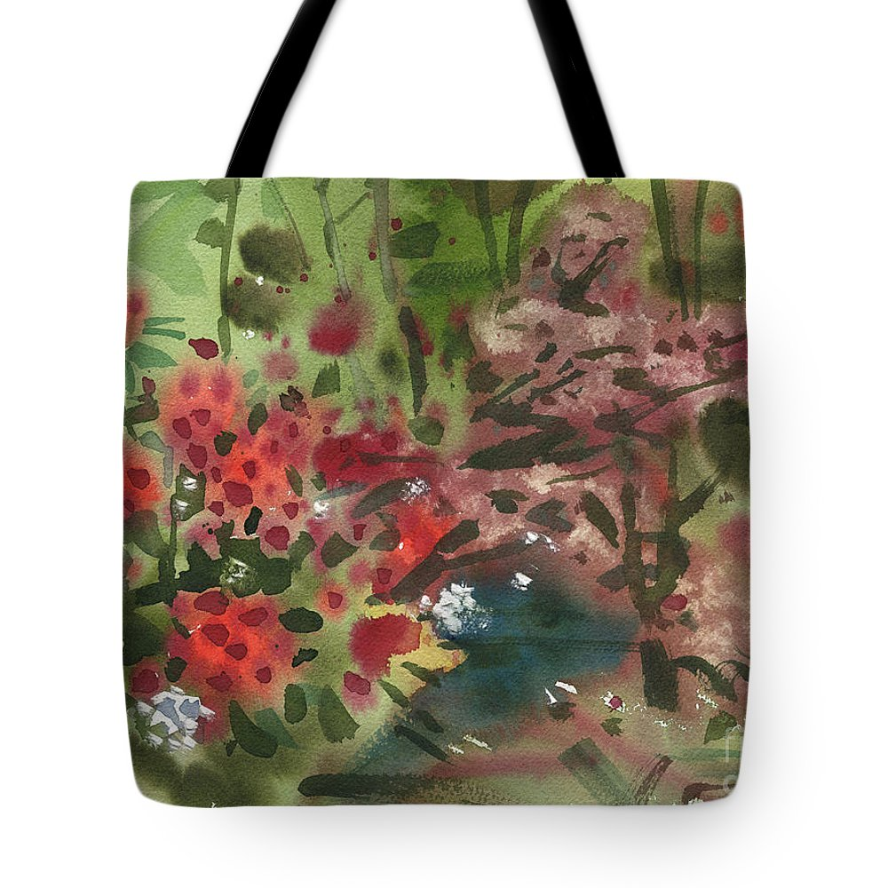 Rhododenron Tote Bag featuring the painting Rhododendron And Red Maple by Donald Maier