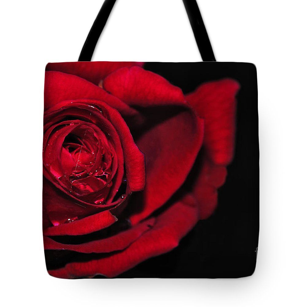 Photography Tote Bag featuring the photograph Rich Red Rose by Kaye Menner