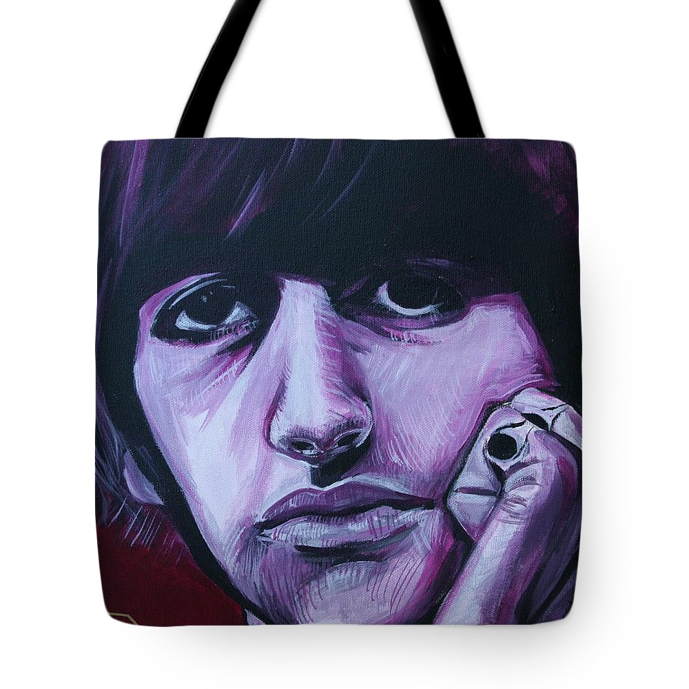 Beatles Tote Bag featuring the painting Ringo Star by Kate Fortin
