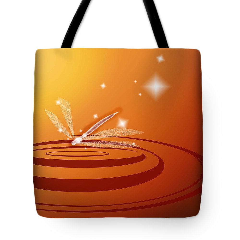 Dragonfly Tote Bag featuring the digital art Ripple by Alice Chen