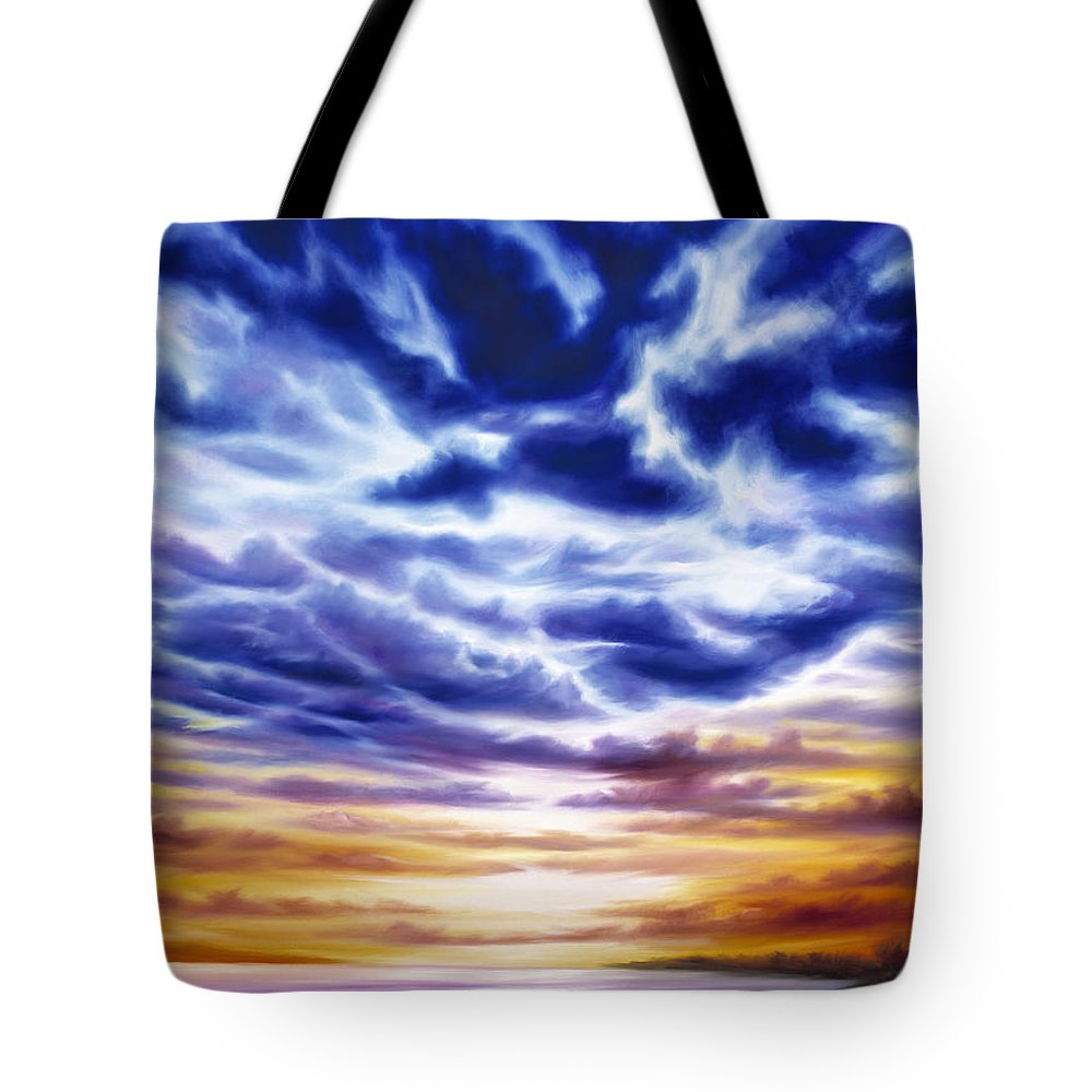 Sunrise; Sunset; Power; Glory; Cloudscape; Skyscape; Purple; Red; Blue; Stunning; Landscape; James C. Hill; James Christopher Hill; Jameshillgallery.com; Ocean; Lakes; Sky; Contemporary; Yellow; Ocean; River; Water Tote Bag featuring the painting Rise by James Christopher Hill