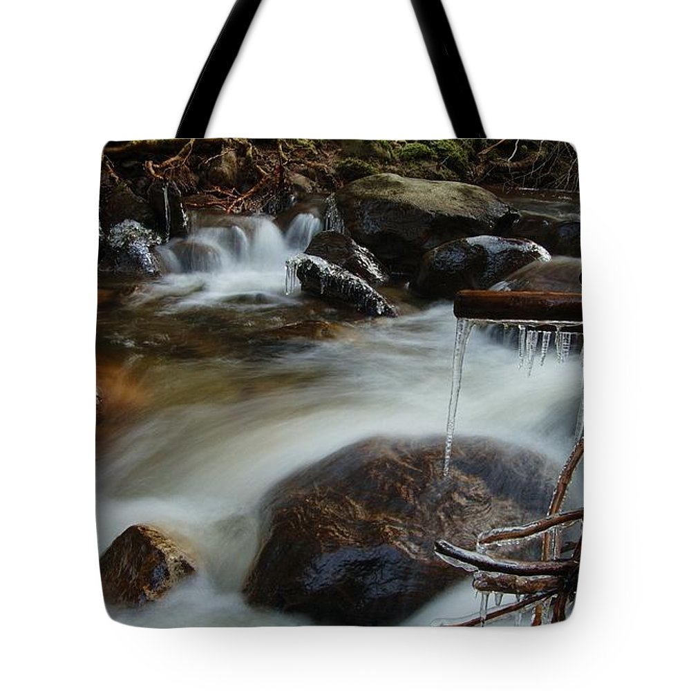 Icicles Tote Bag featuring the photograph River Detail by Gavin Macrae