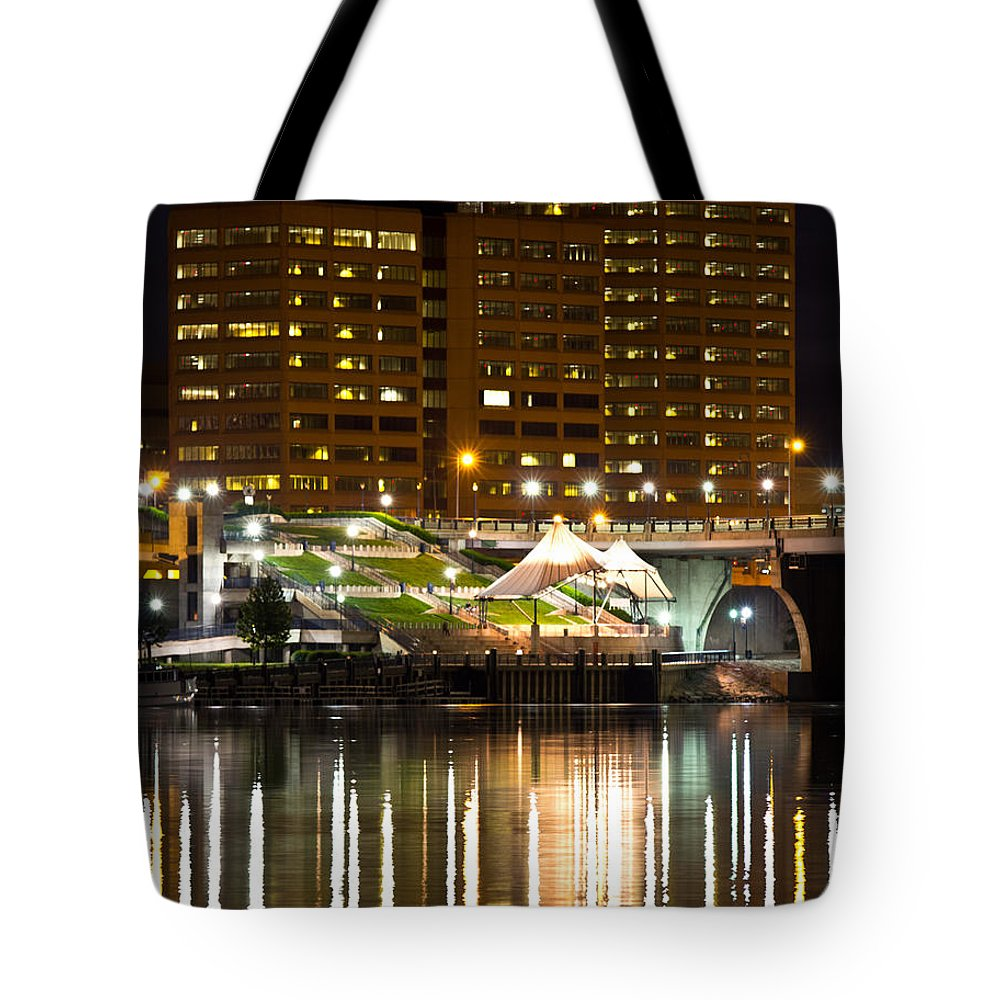 Ct River Tote Bag featuring the photograph River Front At Night by Frank Pietlock