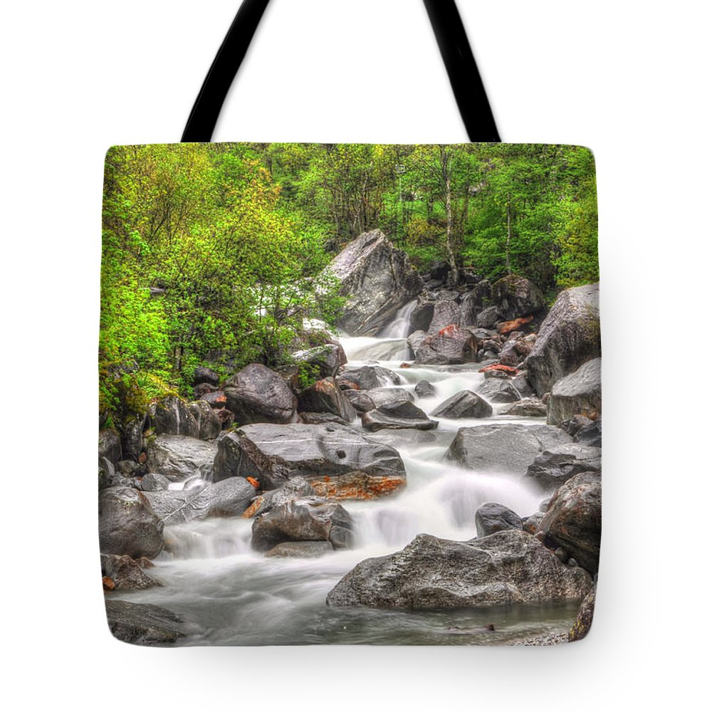 River Tote Bag featuring the photograph River In The Forest by Mats Silvan